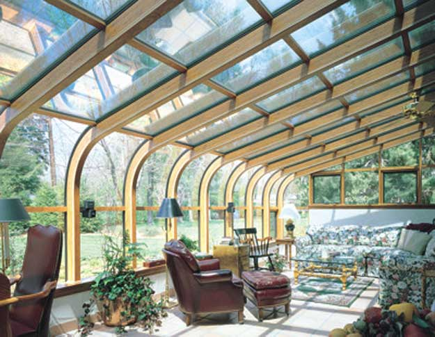 Curved glass roof sunroom or solarium with wood interior Solarium designs