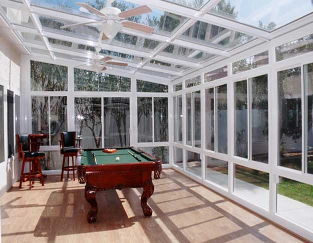 Aluminum straight glass roof sunroom for Sunroom roofs
